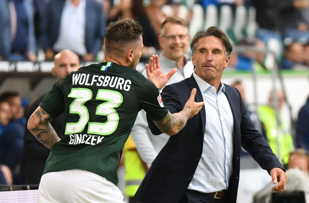 Zwei Ex-Stuttgarter können jubeln: Wolfsburg sichert sich nach dem Sieg gegen Leverkusen zumindest kurzzeitig die Tabellenspitze. Foto: dpa