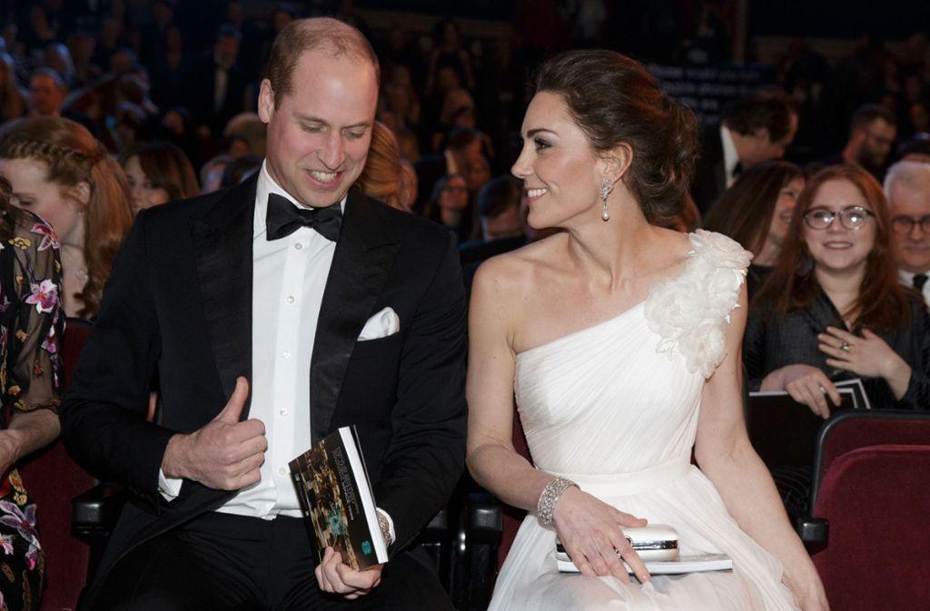 Herzogin Kate und Prinz William bei den Baftas – die Gala sorgte bei den Royals für gute Laune. Foto: AFP