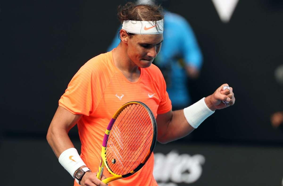 Rafael Nadal  setzte sich gegen den Italiener Fabio Fognini durch. Foto: AFP/DAVID GRAY