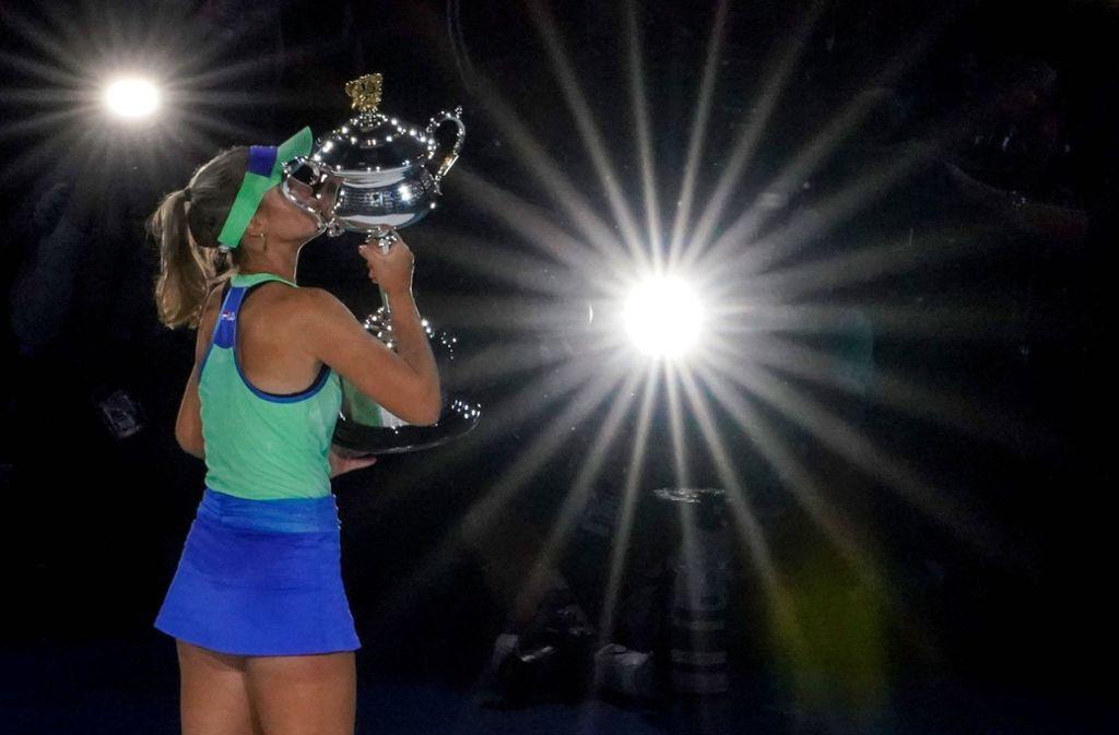 Dieser Tennis-Rock von Sofia Kenin ist in Boris Beckers Augen zu kurz für den Tennisplatz. Foto: imago/AAP/Scott Barbour