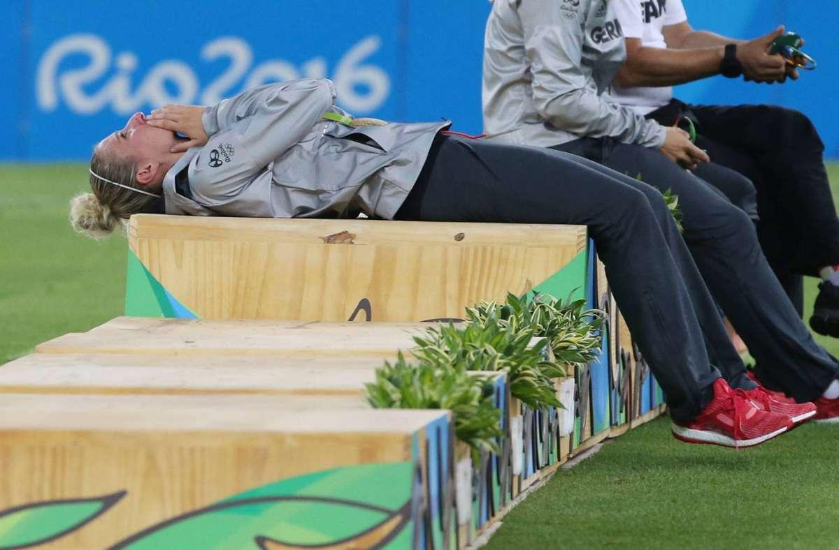 Bei den letzten Olympischen Spielen in Rio bestand das Podest noch aus Holz – in Tokio stehen die Gewinner auf Plastik. Foto: imago images/Rene Schul//
