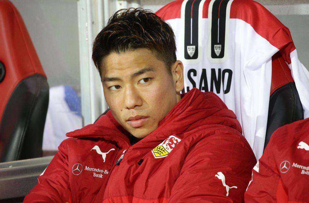 Takuma Asano pendelt beim VfB aktuell zwischen Reservebank und Tribüne. Foto: Baumann