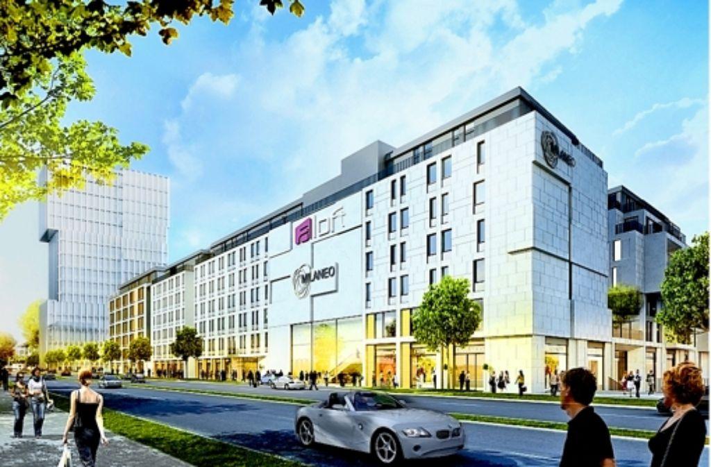 An der Heilbronner Straße zieht ein Aloft-Hotel in den Milaneo-Neubau ein. Auch in dem Hochhaus im Hintergrund an der Ecke Wolframstraße ist ein Hotel geplant. Foto: Starwood Hotels& Resorts Worldwide