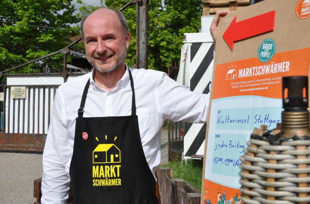 Der 54-jährige  Thomas Schädler hat für Bad Cannstatt die erste Marktschwärmerei auf die Beine gestellt. Foto: Claudia Leihenseder