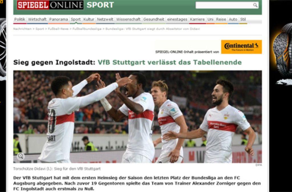 Spiegel Online konzentriert sich auf die neue Tabellensituation des VfB Stuttgart und dass die Mannschaft nach oben klettert. Foto: Screenshot/red