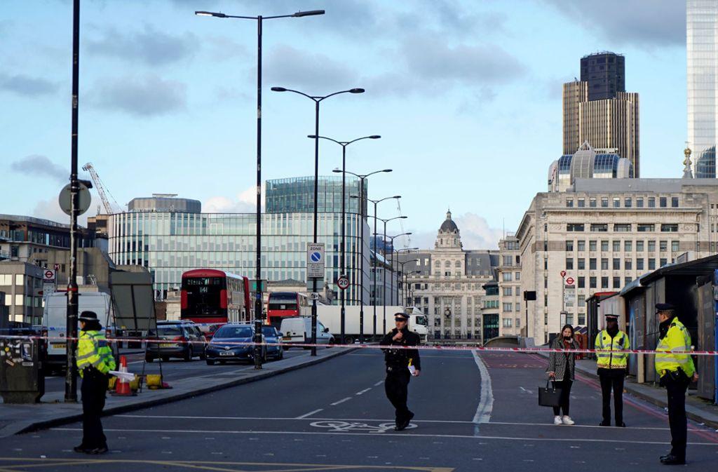 Bei der Messerattacke in London wurde zwei Menschen getötet. Foto: AFP/NIKLAS HALLEN