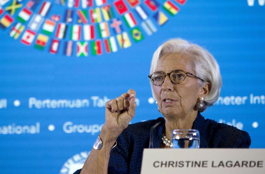 IWF-Chefin Christine Lagarde gibt Donald Trump eine deutliche Abfuhr. Foto: AP