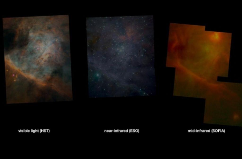 Bei unterschiedlichen Wellenlängen sieht man unterschiedliche Dinge: die drei Aufnahmen zeigen jeweils den Orionnebel. Links sieht man ihn im normalen Licht, aufgenommen vom Weltraumteleskop Hubble. Das mittlere Bild zeigt den Nebel im Infraroten, wie ihn die Teleskope der Europäischen Südsternwarte in Chile sehen. Rechts ist ein Infrarotbild zu sehen, das Sofia aufgenommen hat. Foto: Nasa/Esa/Eso/DLR