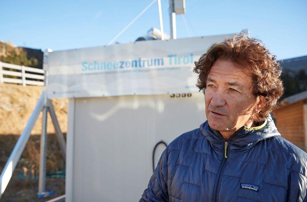 """Michael Rothleitner forscht in Tirol zum Thema Kunstschnee: """"Unser Ziel ist es, dass bei der Schneeproduktion nicht mehr so viel Wasser verdunstet."""" Foto: Stefan Schütz/Schneezentrum"""