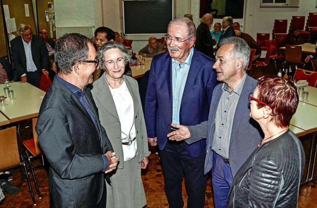 Peter und Edith Pfitzenmaier, Ewin Staudt (li.), Tobias Brenner und Elviera Schüller-Tietze (re.). Foto: factum/Jürgen Bach