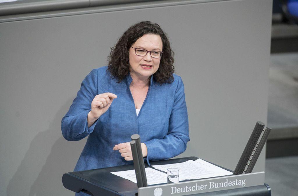 Andrea Nahles kritisiert Waiblinger CDU-Abgeordneten Pfeiffer Foto: www.marco-urban.de