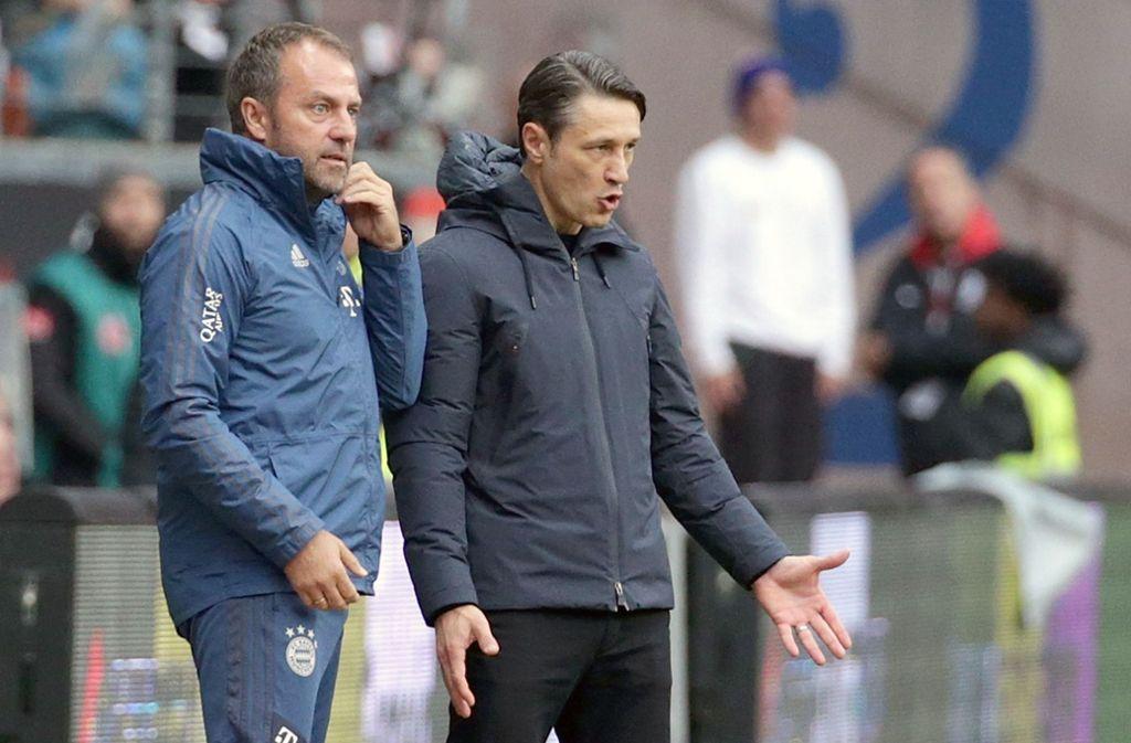 Hansi Flick (li.) neben Niko Kovac: Ist der bisherige Co-Trainer mehr als nur eine Übergangslösung beim FC Bayern? Foto: dpa/Hasan Bratic