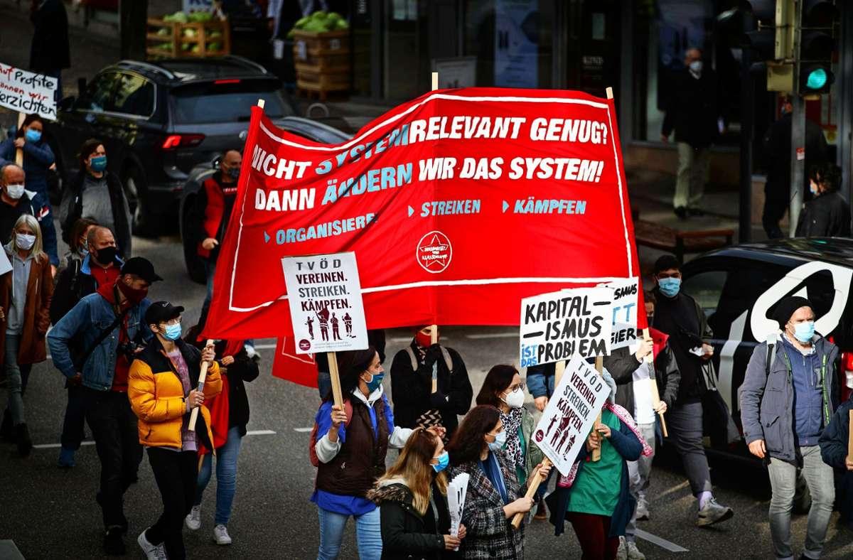 In Waiblingen haben rund 500 Beschäftigte des öffentlichen Diensts für eine bessere Bezahlung gestreikt. Foto: Gottfried Stoppel