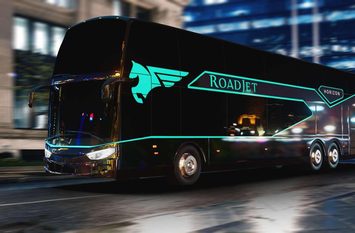 So sollen die Busse aussehen, die vom August an Stuttgart mit Berlin verbinden. Foto: Ayats/Roadjet