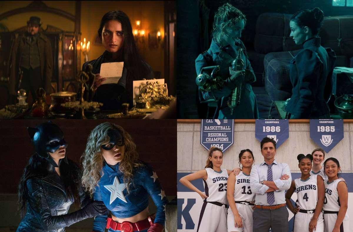 """Wie wäre es im April zum Beispiel mit """"Shadow and Bone"""", """"The Nevers"""", """"Big Shot"""" oder """"Stargirl""""   (von links oben im Uhrzeigersinn)? Unsere Bildergalerie verrät, welche zehn Serien Sie in diesem Monat im Blick haben sollten.Foto: Netflix, HBO, Disney+, DC Foto:"""