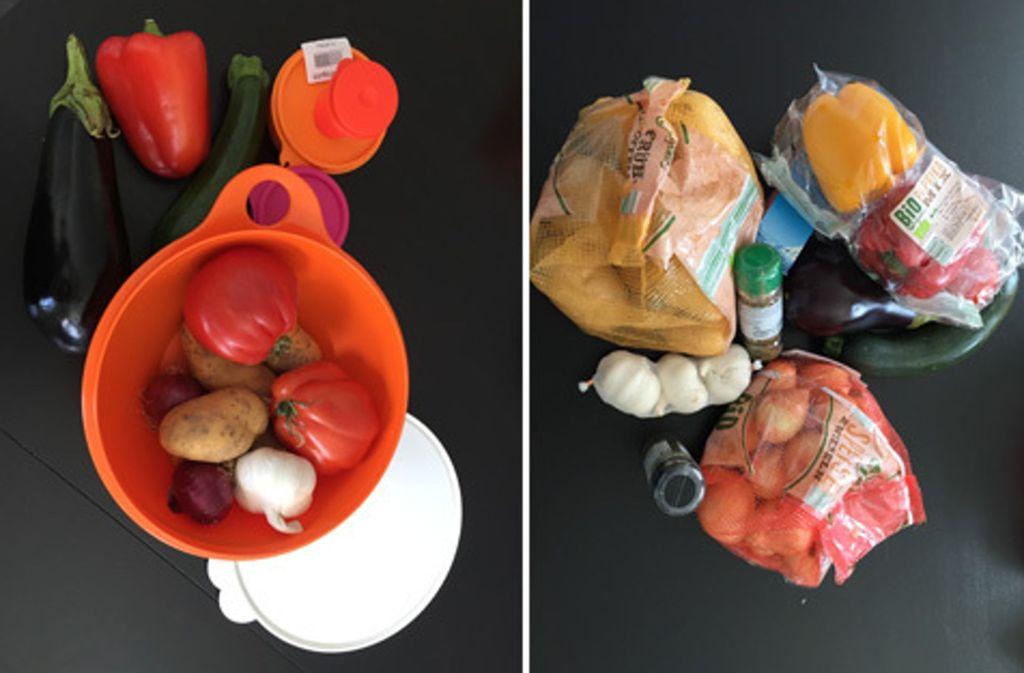 Wie viel Müll muss sein? Zwei Einkäufe, zwei Läden: Einmal unverpackt, einmal verpackt. Foto: Lichtgut/Max Kovalenko