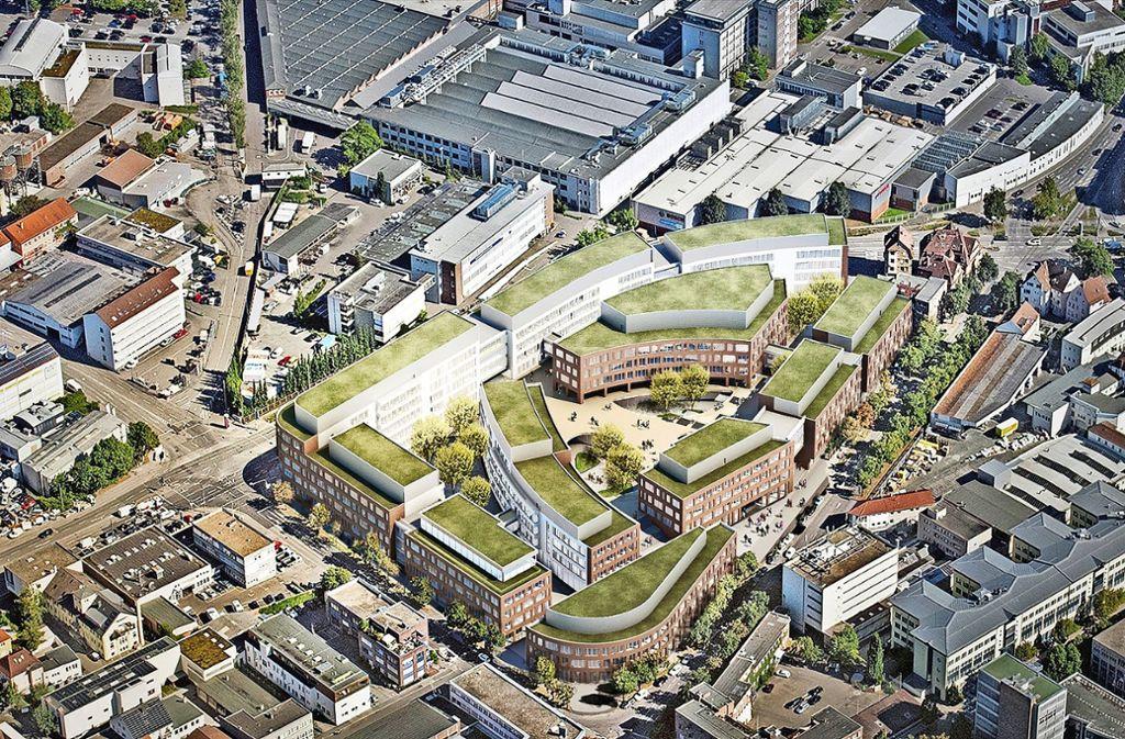Die Gebäude mit der Dachbegrünung  sollen  auf dem Bosch-Büroareal   entstehen. Die Zugangswege und Platz   werden  öffentlich zugänglich sein. Foto: Hascher Jehle Architektur