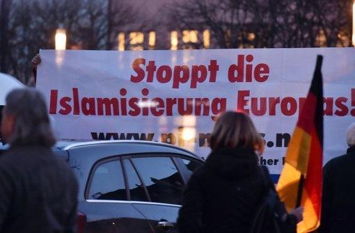 200 Anhänger und 500  Gegner von Pegida kamen am Dienstagabend in Karlsruhe zusammen. In der folgenden Bilderstrecke zeigen wir Eindrücke von beiden Demos. Foto: dpa