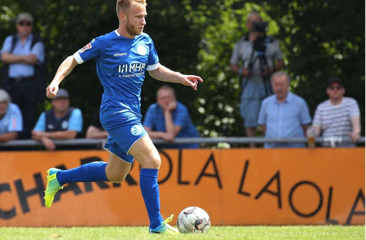 Nach langer Verletzungspause in Villingen erstmals wieder eingewechselt: Kickers-Mittelfeldspieler Marvin Weiss. Foto: Baumann