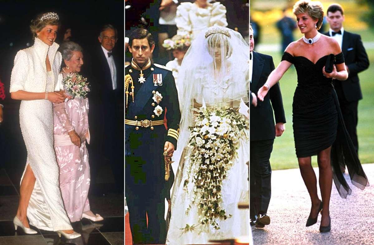 """Kleider, die vielen in Erinnerung geblieben sein dürften: Prinzessin Diana im """"Elvis-Kleid"""", ihrem Brautkleid und dem Cocktailkleid, das als """"Revenge Dress"""" in die Annalen einging. Foto: Imago/dpa"""
