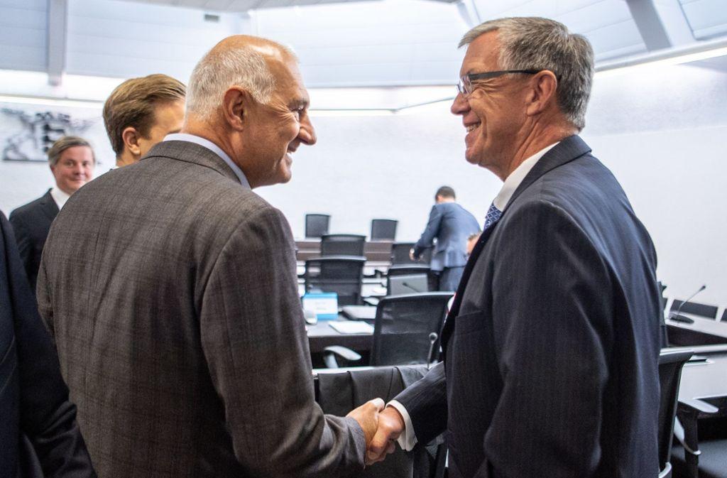 Willi Balz (links) und Walter Döring beim Prozessauftakt im August 2019 Foto: dpa/Fabian Sommer