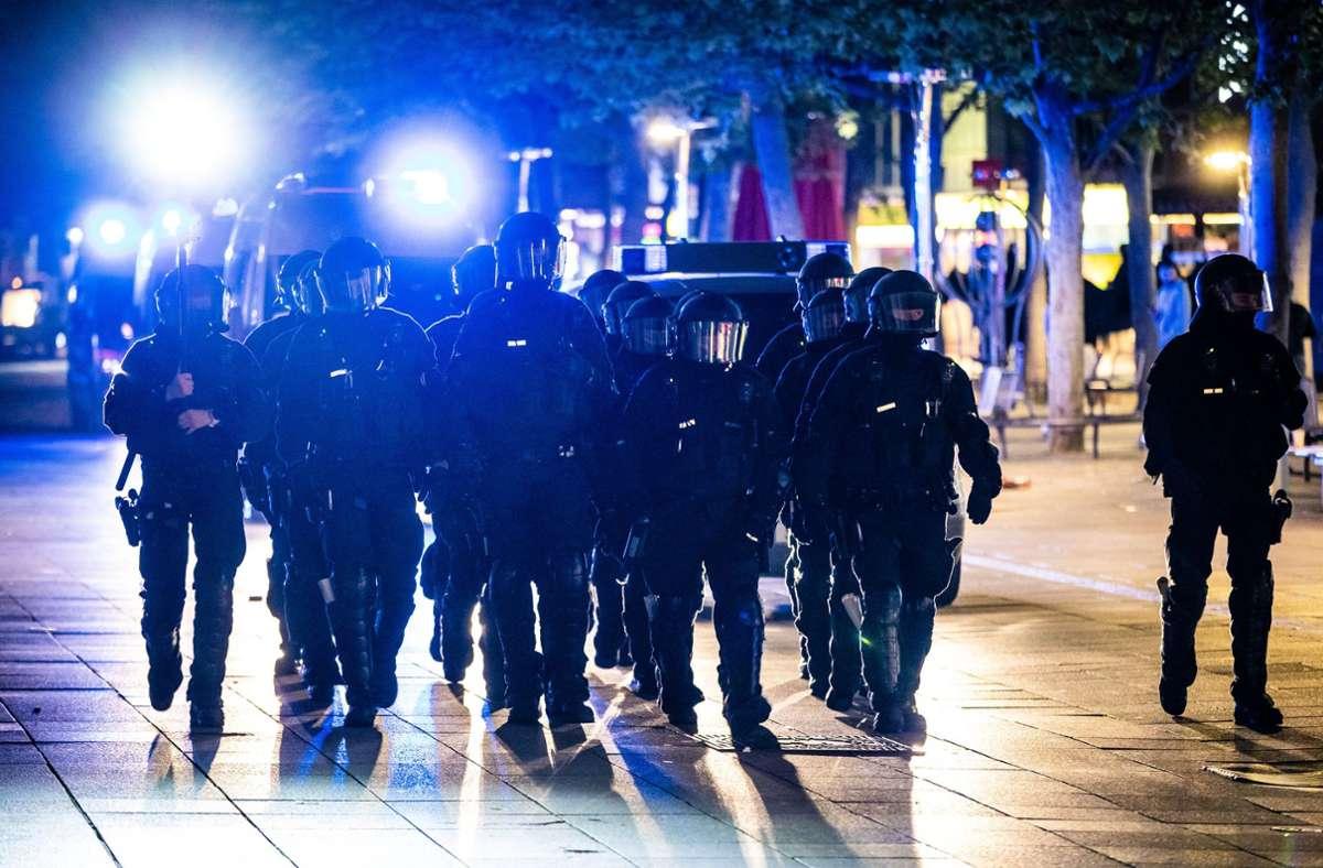 Großeinsatz für die Polizei in Stuttgart Foto: dpa/Christoph Schmidt