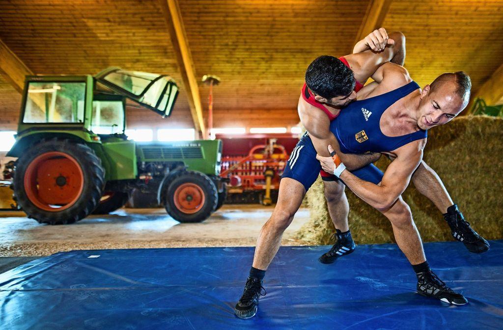 Medienwirksam hatte der Doppel-Weltmeister Frank Stäbler (in Blau) sein Training zwischenzeitlich in den väterlichen Kuhstall verlegt. Foto: dpa