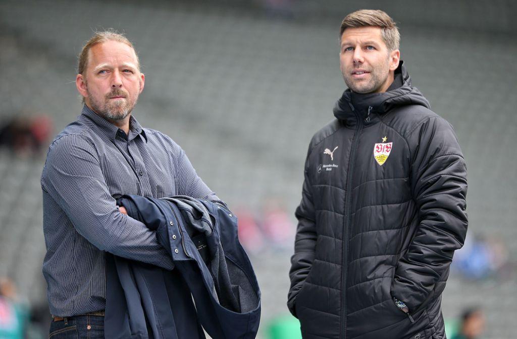 Sven Mislintat (links) und Thomas Hitzlsperger erwartet eine Menge Arbeit. Foto: Baumann
