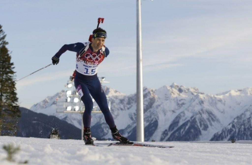 Der 40-jährige Ole Einar Björndalen ist in Sotschi der König der Altherrenriege. Foto: AP