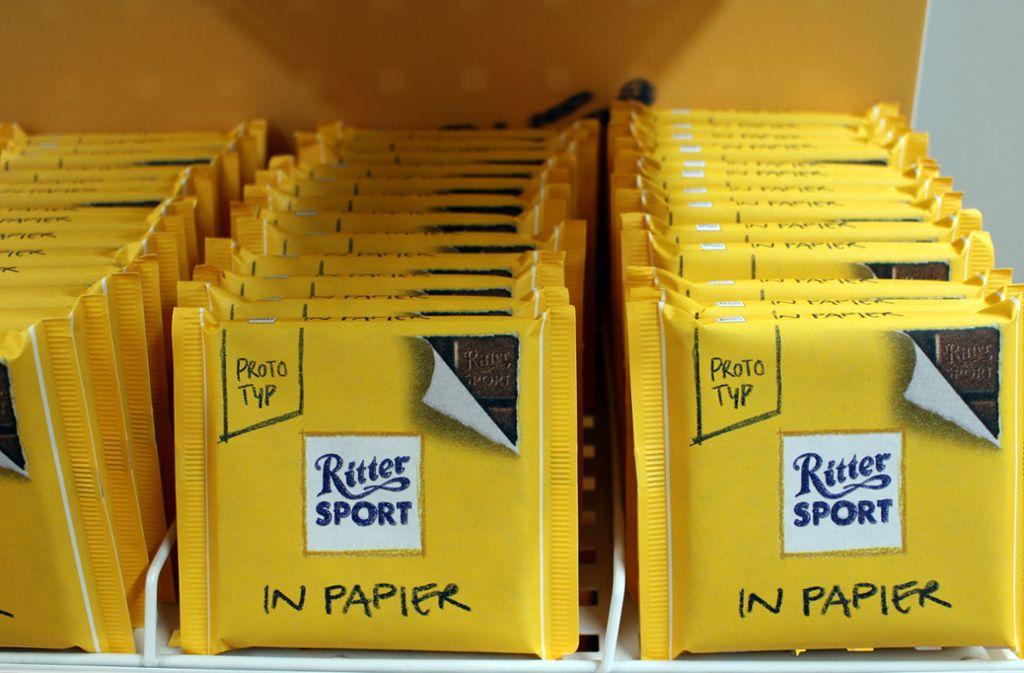 Ritter Sport in Papier gab es schon – gibt es bald vielleicht Ritter Sport in Amicelli-Geschmacksrichtung? Foto: Caroline Holowiecki/Caroline Holowiecki