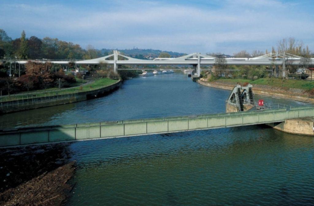Die Visualisierung zeigt, wie die geplante Neckarbrücke bei Bad Cannstatt aussehen könnte. Wegen der Platzierung der Pfeiler sind sich Bahn und Stadt uneinig. Foto: StZ