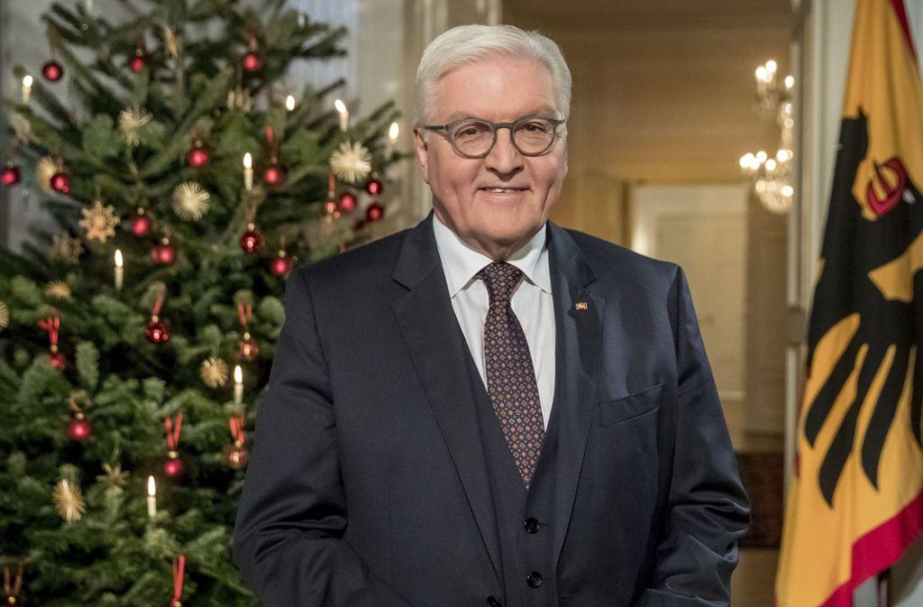 Bundespräsident Frank-Walter Steinmeier bei seiner Weihnachtsansprache. Foto: Pool dpa
