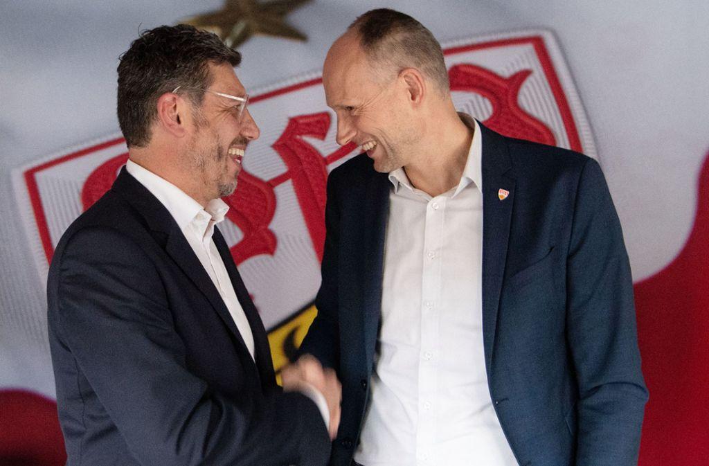 Claus Vogt (l.) und Christian Riethmüller sind die Kandidaten für das Präsidentenamt beim VfB Stuttgart – Vogt erteilte nun der Idee einer Doppelspitze eine Absage. Foto: dpa/Marijan Murat