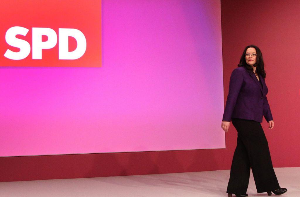 Für die Fraktions- und Parteivorsitzende der SPD, Andrea Nahles, wird die Luft nach der Europawahl dünn. Foto: dpa
