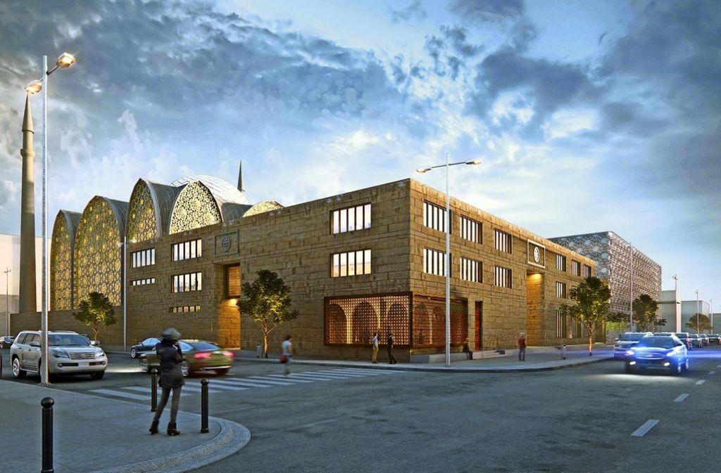 Zukunftsvision:  So sehen die Pläne von SL Rasch für eine neue Moschee  an der Ecke von Mauserstraße und Albrechtstraße aus. Foto: SL Rasch