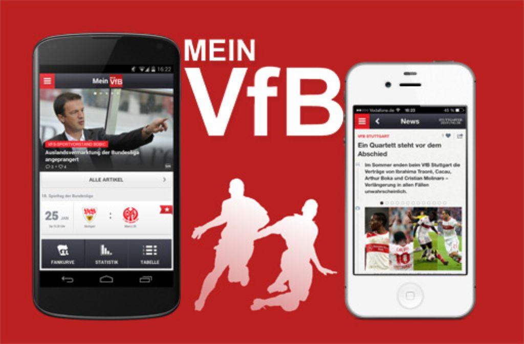 Ein Muss für die Fans des VfB Stuttgart: Unsere App Mein VfB haben wir nun zur Bundesliga-Saison 2014/15 überarbeitet und aufgefrischt - und sie ist weiter kostenlos für die Betriebssysteme Android (links) und iOS erhältlich. Foto: SIR Screenshot