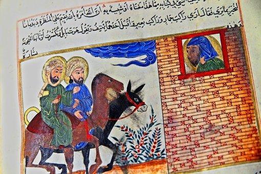 """""""Mohammed und Jesus –  Vision des Jesaja"""". Persische Buchmalerei, 16. Jh. Foto: Arte"""