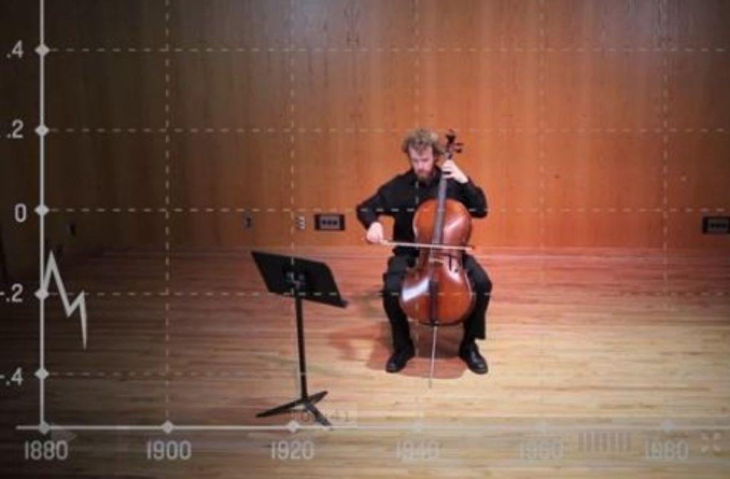Daniel Crawford macht auf seinem Cello den Temerpaturanstieg der letzten 132 Jahre hörbar. Screenshot: StZ