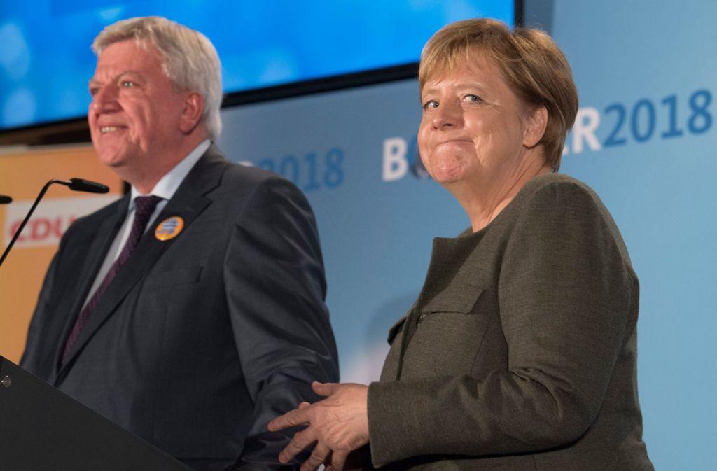 Volker Bouffier kämpft um seine Wiederwahl als Ministerpräsident – aber sein Erfolg oder Misserfolg wird auch die politische Zunkunft Angela Merkels stark beeinflussen. Foto: dpa