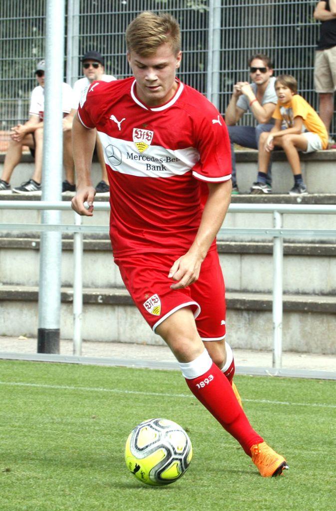 Frederik Schumann: Auch der linke Verteidiger der VfB-B-Junioren steht im Aufgebot der deutschen U-17-Nationalmannschaft. Beim Rückspiel gegen Dänemark durfte Schumann eine Halbzeit sein Können zeigen, seine Mannschaft schlug Dänemark mit 2:1. Foto: Baumann