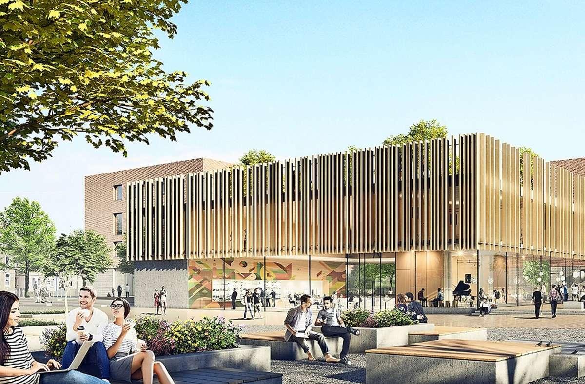 Die rund 1200 Gymnasiasten in Feuerbach sollenab 2028 von Neubauten profitieren. Foto: Günter Hermann Architekten und white arkitekter