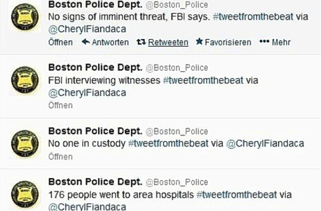 Die Polizei von Boston twittert ihre Informationen direkt ins Netz. Screenshot: StZ