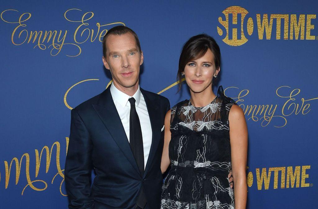Einstimmung auf die große Emmy-Verleihung: Der britische Schauspieler Benedict Cumberbatch und seine Frau Sophie Hunter waren zu Gast bei einer Pre-Emmy-Party. Foto: AFP
