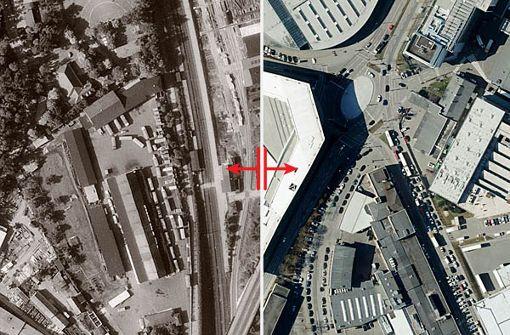 Im Slider unten sowie in der Bildergalerie  zeigen wir, wie sich der Porsche-Stammsitz in Zuffenhausen seit 1955 verändert hat. Foto: Stadtmessungsamt Stuttgart