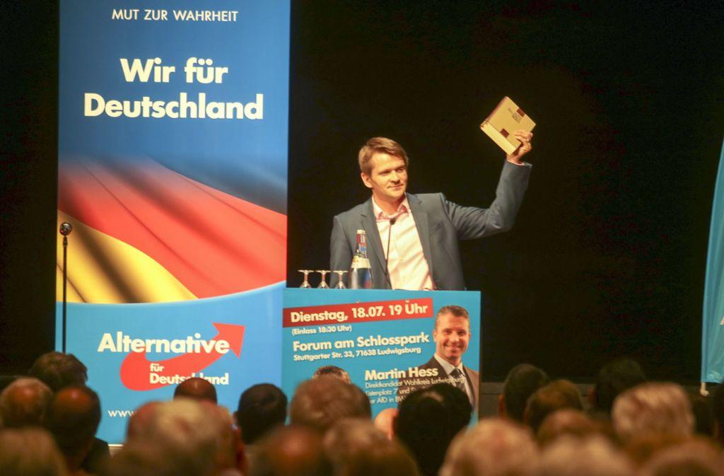 Gottfried Minnich bei einer Wahlveranstaltung 2017 in Ludwigsburg. Foto: factum/Weise