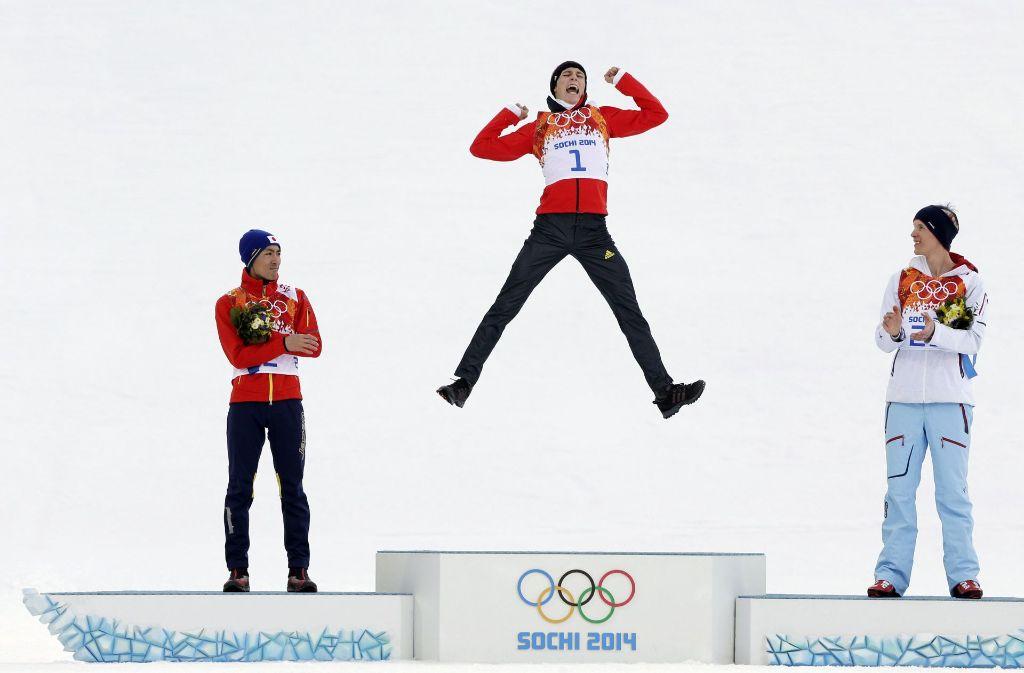 So wie vor fast vier Jahren in Sotschi will Eric Frenzel auch in Südkorea wieder jubeln. Foto: AP