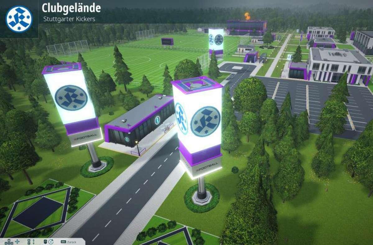 Die Stuttgarter Kickers im 3D-Vereinsgelände. Screenshot: privat