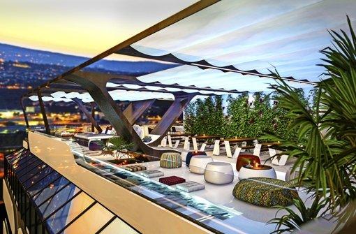 Entspannen auf der Dachterrasse: Ab 2016 wird das im Europaviertel möglich sein. Weitere Computeranimationen des Luxusbaus sehen Sie in unserer Fotostrecke. Foto: Cloud No. 7