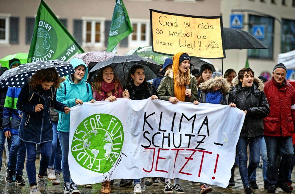 Viele Schüler müssen den Unterricht gar nicht schwänzen – sie kommen mit    ihren Lehrern zur Klimaschutzdemo. Foto: Gottfried Stoppel