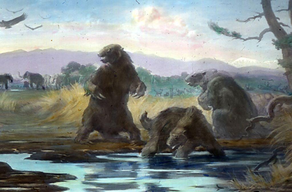 Kampf ums Überleben: So stellte sich der Maler Charles Knight 1921 das Leben des Paramylodons im Pleistozän vor. Foto: Wikipedia commons